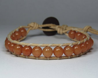 Red Aventurine Gemstone 6mm Round Beads on Natural Leather Cord Handmade 1 Wrap Bracelet