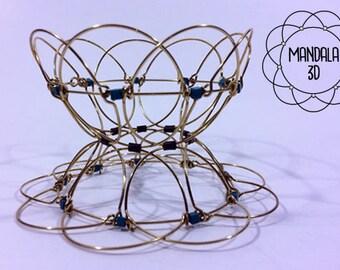 Mandala 3D wire  Turquoise relaxation toy anti-stress meditation yoga bracelet  sacred geometry spiritual jewelry  candle