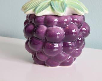 Sale! vintage Japan Ceramic Grape sugar Bowl, kitsch, vintage Kitchen, vintage home decor,
