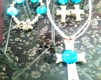 Handcrafted Cross necklace set...includes...necklace, earrings and bracelet.