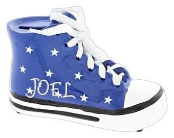 "Personalized 5"" x 3"" Kids Retro Blue Shoe Bank"