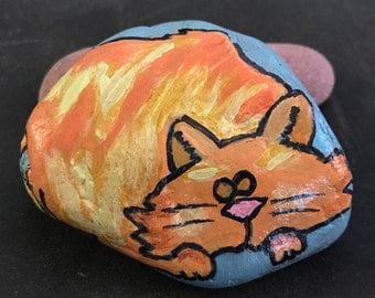 Sleepy Kitty Cat Painted Rock & Paperweight