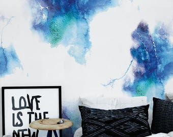 Watercolor Stains Wallpaper - Removable Wallpaper - Modern Pattern - Wall Covering - Peel and Stick - Wall Decor - Wall Mural - Decal - 23