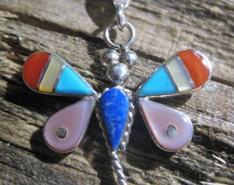 sterling ZUNI inlay DRAGONFLY PENDANT & sterling box necklace, you choose length. Turquoise, mother of pearl shell, red coral, lapis lazuli.