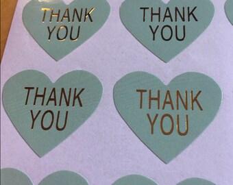 100 green heart shape THANK YOU stickers