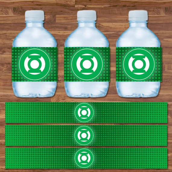 Green Lantern Drink Labels - Green Lantern Water Bottle Labels - Green & White Logo - Green Lantern Party Printables - 9.75 x 1.25 Inches
