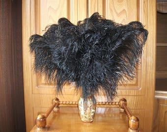 "Ostrich feather black 10""-14"""
