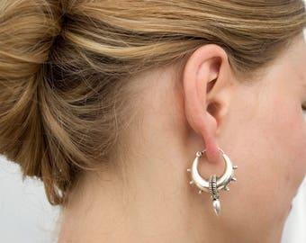 Tribal earrings Sterling silver-big silver hoop earrings-Spike earrings-Bali hoops-Ethnic earrings-thick creole earrings Large silver hoops