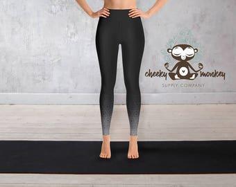 Yoga Leggings // Mandala OMbré Print Leggings (Black) // Yoga, Barre, Pilates, Dance, Running, Exercise, Fashion