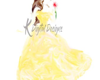 Disney Princess Belle Watercolor-INSTANT DIGITAL DOWNLOAD