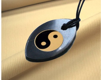 Natural Shungite Mineral Yin Yang Pendant Necklace with cord -  Oval