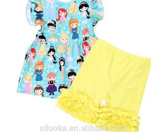 Ready to Ship Girls Ruffled Short Set Princesses Aqua Blue Yellow Ruffled Shorts Toddler Short Set 3T