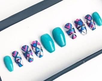 Turqoise nails|Press on nails|Negative space|Coffin Nails|Stick on nails|Gel nails||False nails|Glue on nails|Acrylic nails|fake nails