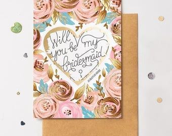 Will You Be My Bridesmaid Scratch Off Card Heart Floral 1