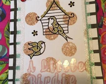 Birthday Card Handmade | A little birdie told me, it's your birthday | Black & White