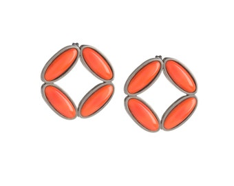 Rhomb Black and Orange Stud Earrings