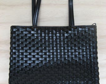 Nine West Black Woven Shoulder Bag with Double Straps