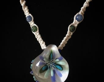 Classy Glass Flower Implosion on Hemp Necklace