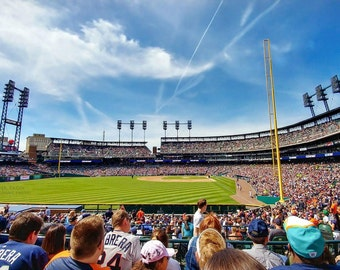 Panoramic photograph taken inside of the Detroit Tigers stadium from left field!