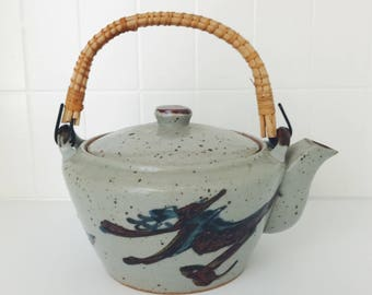 Vintage Japanese ceramic tea pot // hand painted Asian teapot // blue teapot // gifts for her // housewarming gift // stoneware teapot