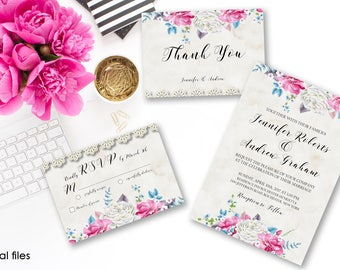 Wedding Invitation Suite Printable Floral Digital Wedding Pink Blue White Watercolor Roses Invitation Beige Lace Wedding Invite WS-009
