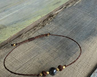 Intention Bracelet/Grounding/Healing Stones and Crystals/Hematite/Tibetan Bodhi Seed/Thai Vermeil Bead Bracelet/Layering/Adjustable