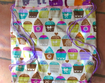 CLEARANCE SALE on this item!Cupcakes string backpack, with inside pocket,