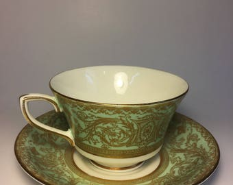 Teacup and Saucer, Vintage – Mint Green, White, and Gold – Beautiful Flowing Patterns – Royal Worcester (England), Embassy