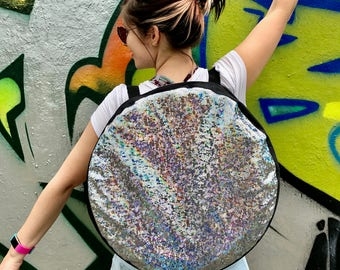 Shiny Silver Disco Travel Hula Hoop Bag