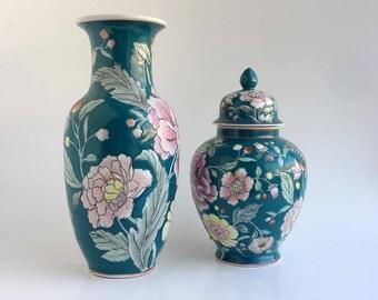 Vintage Oriental Vases//Boho Floral Vase//Teal & Pink Vases//Vintage Floral Pattern//Boho Decor Vase Set//Hand Painted Vintage Vases