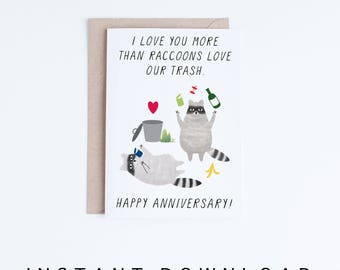 Printable Anniversary Cards, Instant Download Funny Anniversary Cards, For  Boyfriend, Girlfriend, Husband