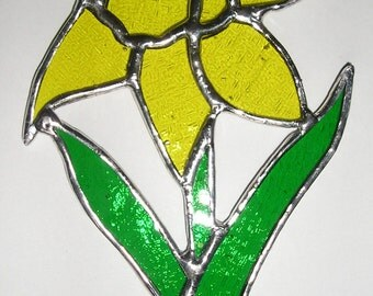 Daffodil, Flower of the Month, Birthday Flower for March, Stained Glass Suncatcher, Handmade in England