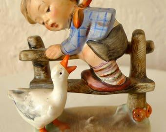 Vintage HUMMEL GOEBEL No. 195 2/0 Barnyard Hero FIGURINE Porcelain boy Germany