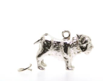 Pug Dog Traditional Silver Charm