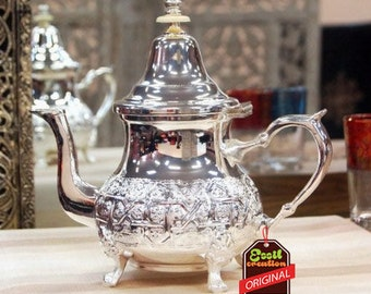 TEAPOT Moroccan silver hammered handmade Floral design, ideal gift, decoration use, tableware, extra quality.
