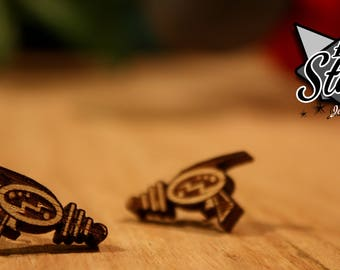 Ray Gun Stud Earrings - Laser Cut Wood