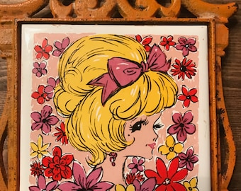 Vintage 1960's Trivet with Orange Wrought Iron and Tile with Blond Woman
