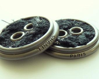 Chanel Tweed Buttons New 32mm Black Gunmetal