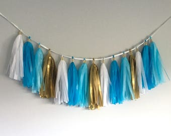 Blue, White, and Gold Tissue Tassel Garland/Banner! - Also in Pink and Gold/Purple and Gold!