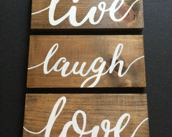 Free shipping!! Live Laugh Love Custom Wood Sign | Custom font wooden sign | Farmhouse wood sign | Custom Gift Sign