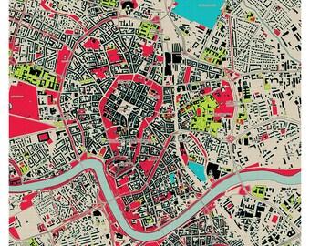Krakow map poster, map of Krakow poster, Krakow map, Krakow city map, Krakow print