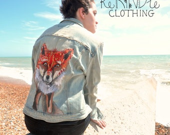 Upcycled, embellished denim jacket Fox