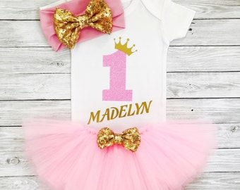 Baby Girl 1st Birthday Outfit, First Birthday Girl, First Birthday Outfit Girl, 1st Birthday Girl Outfit, Pink Gold Birthday Outfit Tutu
