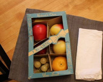 Vintage Wax Fruit - 7 Nature's Own Realistic Wax Fruit