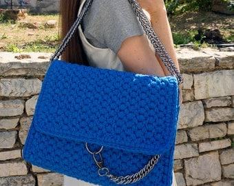 Handmade Royal Blue Crochet Shoulder Bag