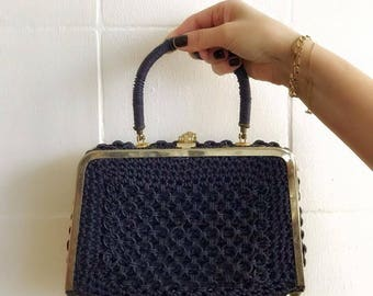 Vintage Handbag, Knitted dark blue, with opening on both sides
