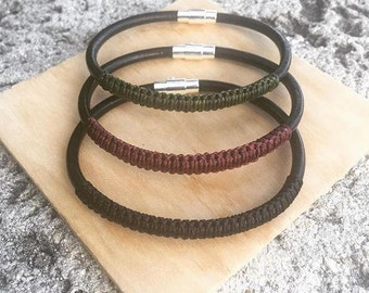 Leather Bracelet and Macrame