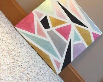 "Hand Painted Metallic Geometric Canvas Art- 12""x12"""