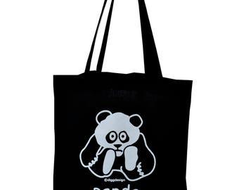 Cute PANDA black cotton Tote Bag