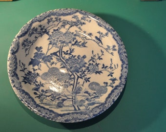 Chinese porcelain decorative plate with decoration of flowers and birds